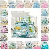 Kinder Bettwäsche 100 x 135 cm + Kissen 40 x 60 cm 100% Microfaser mit Reißverschluss, Erhältlich mit verschiedenen Motiven - Kinderbettwäsche-Set, Babybettwäsche, bedruckter Bettbezug für Jungen & Mädchen - Dinos Blau