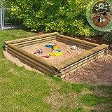 Großer Sandkasten 180x180 cm aus Rundholz Ø 7 cm von Gartenpirat