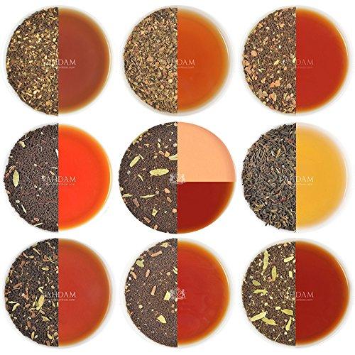 Chai Tee Sampler, 10 TEES, Indiens Original Masala Chai Tee Mischungen (50 Tassen), 100% Natürliche Zutaten - Gewachsen, Gemischt und Direkt von der Quelle in Indien. Authentischer Loose Leaf Chai Tee