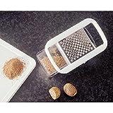 Fackelmann Muskatreibe mit Behälter, Reibe inkl. Aufbewahrungsbox, Muskatnussreibe aus Edelstahl (Farbe: Weiß/Silber/Transparent), Menge: 1 Stück