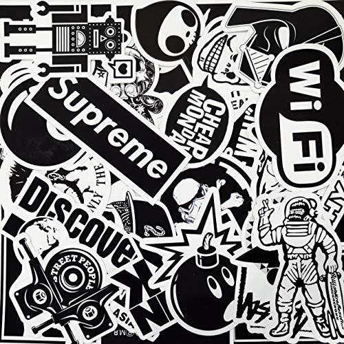 Aufkleber Pack [100pcs], AhaSky Sticker Set Schwarz&Weiss Wasserdicht, Stickerbomb für Auto Motorräder Laptop Fahrrad Skateboard Snowboard Gepäck MacBook iPad Xbox One PS4, Bumper Vinyl Aufkleber