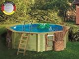 Paradies Pool GmbH Holzpool 4,00 x 1,20 m, Folie 0,6mm adriablau, Achteck Pool, Engholm Tiefbeckenleiter Edelstahl, Massivholzbohlen, Breitmaulskimmer, Komplettset, Schwimmbecken, Karibu