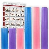 POWRX Yoga-Rolle / Pilates-Rolle / Schaumstoff-Rolle / Foam-Roller / Faszien-Training / Selbstmassagerolle 45 cm oder 90 cm x 15 cm Blau Lila Pink (Pink/90 x 15 cm)
