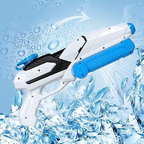 MOZOOSON Wasserpistole Spielzeug für Kinder mit Langer Reichweiter Freezefire für Kinder Mädchen Junge ab 3 Jahr 800ML Blau XXL Eiswürfel geeignet