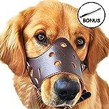 CRAZYBOY Leder Hunde Maulkorb, Anti-beißenden Ermöglicht Trinken, Keuchen und Essen für Schnauzer Border Collie Golden Retriever Rottweiler (M, Braun)