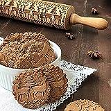Cooljun Teigroller mit Prägung Weihnachten Elch Mustern Prägerolle Holz Backzubehör Stabil & langlebig Küche Werkzeug