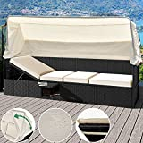 Deuba Poly Rattan Lounge Liege schwarz | faltbares Sonnendach | 7cm dicke Sitzauflagen creme | Klapptisch | UV-beständiges Polyrattan | wasserabweisend - Gartenliege Gartenlounge Sitzbank Strandkorb Sonnenschutz