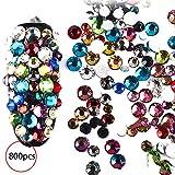 Nagelschmuck, Dekoration, 3D-Nagelperlen, Strasssteine, Kunstharz, Goldmetall, bunt, 800 Stück