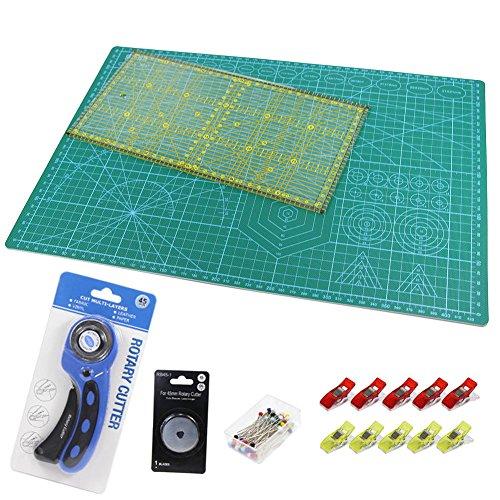 A3 Schneidematte + Rollschneider + Ersatzklinge + Patchwork-Lineal + Stoffklammer (10 Stück) + Stecknadeln (40 Stück ), 6tlg- Patchwork Set, Schneidematte Set