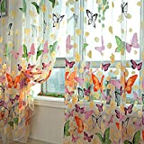 Vorhang Transparent, Lommer 2er 200x100CM Gardinen Set Beflockung Fenstersiebung Voile Schlaufenschal Tüll Fenster Vorhang Garn für Schlafzimmer und Wohnzimmer, Schmetterlingsmuster (Bunt)