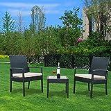 YOUKE 3-teiliges Set aus Sesseln und Kaffeetisch Gartenmöbel-Set, Rattan, wetterfest, für Innen- Außenbereich, mit Kissen