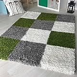 Hochflor Shaggy Teppich kariert in versch. Farben und Größen Langflor Teppiche für Wohnzimmer und Jugendzimmer. (120 x 170 cm, Grün)