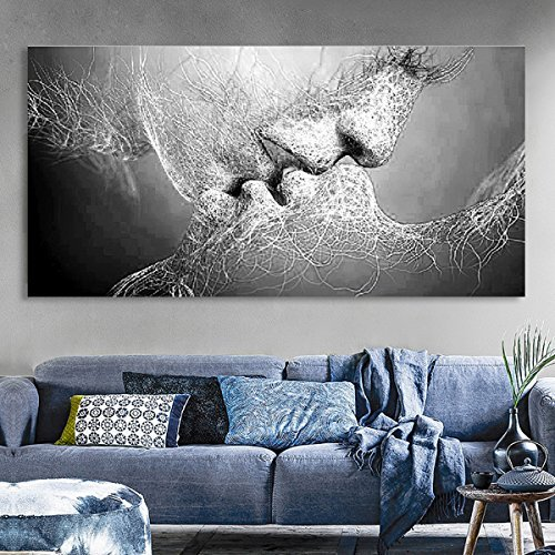Wandbild Prints, Essort Leinwand Malerei, Schwarz und Weiß Love Kiss Kunstdruck Bild für Wohnzimmer, Schlafzimmer, Restaurant, Hotel Decor, ( Kein Rahmen )100*60cm