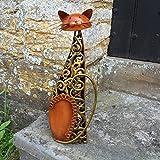 Metallskulptur 'sitzende Katze' / Statue / Figur / Ornament-Bronze & goldene Wirbel-Katzenfigur für Innen- und Außenbereich-39cm