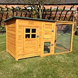 FeelGoodUK Hühnerhaus mit einem Dach vollständig öffnen - Schönes Modell mit integrierten Lauf und Reinigungsanwendungen und Nacht Tür - CH14 NATURAL & EXT DE