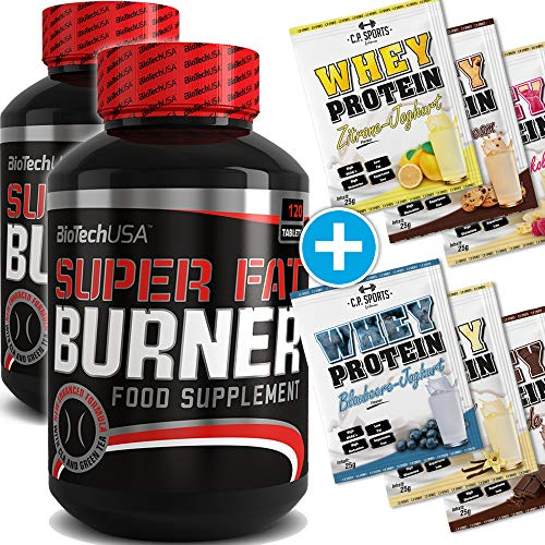 BioTech USA Super Fat Burner 2er Pack, (2 x 120 Kapseln) + 6x C.P. Sports 25g Whey Protein Testbeutel
