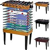 Maxstore Multigame Spieletisch Mega 15 in 1, inkl. komplettem Zubehör, Spieltisch mit Kickertisch, Billardtisch, Tischtennis, Speed Hockey uvm. in 3 Dekorvarianten