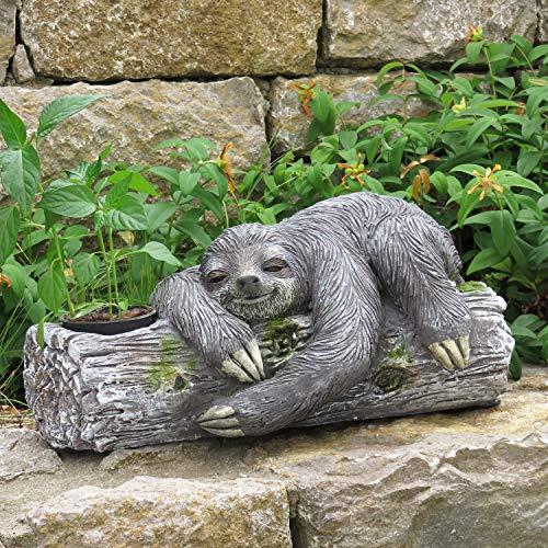 Unibest Deko Faultier liegend Stein-Optik Gartenfigur Magnesium-Oxid Dekoobjekt Skulptur