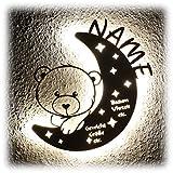 LED Nachtlicht Bär auf Mond mit Name personalisiert I Einzigartige Taufgeschenke Geschenke zur Geburt und Taufe für Mädchen Junge Jungs