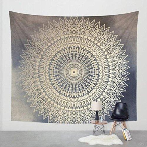 Goldbeing indischer Wandteppich Wandbehang Mandala Tuch Wandtuch Gobelin Tapestry Goa Indien Hippie-/ Boho Stil als Dekotuch /Tagesdecke indisch orientalisch psychedelic (150 x 130cm, Grau Kreis)