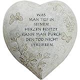 COM-FOUR Grabschmuck Deko Herz 'Tief im Herzen', in Steinoptik, als Grabschmuck, ca. 15 x 15 x 9 cm (01 Stück - Spruch 9)