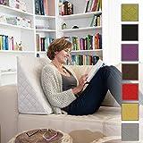 Sabeatex Rückenkissen, Keilkissen für Couch und Sofa, Lesekissen für bequemes Sitzen. 5 Unifarben für trendiges Wohndesign. Louge-oder Palettenkissen Größe 60 cm x 50 cm x 30 cm (Beige / Natur )