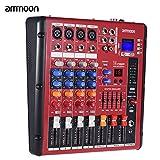 ammoon Digitale Bluetooth 4-Kanal Mic Line-Audio-Mixer Mischpult 2-Band EQ mit 48V Phantomspeisung USB-Schnittstelle für die Aufnahme DJ Bühne Karaoke Music Appreciation
