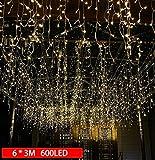 GlobaLink 6×3M Lichterkette mit 600 LED-Lämpchen Lichtervorhang Licht Schnur, warm weiße Beleuchtung für Fenster, Weihnachten, Party, Outdoor, Hochzeit, Dekoration usw.