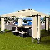Deuba Pavillon 3x4m creme  12m²  wasserabweisend  Dachhaube  Festzelt  Partyzelt