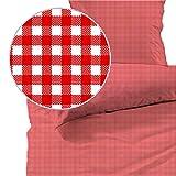 Seersucker Bettwäsche karo, Landhaus Rot, 100% Baumwolle, Bügelfrei, 135 x 200cm + 80 x 80cm, mit YKK-Qualitätsreißverschluss