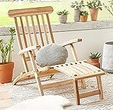 SAM Teak Holz Deckchair, Liege-Stuhl, Sonnenliege, verstellbar, geschliffen, platzsparend zu verstauen im Winter, ideal für Balkon und Garten, robuste Gartenliege