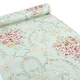 Ya Jin selbstklebende Deko-Folie mit Blumenmuster, für Regale, Schubladen, Schränke, Schreibtische Green-rose