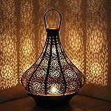 albena shop 71-5240 Jadoo orientalisches Windlicht Laterne 30cm Metall (schwarz / innen gold)