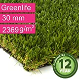 Kunstrasen Rasenteppich Greenlife für Garten - Florhöhe 30 mm - Gewicht ca. 2369 g/m² - UV-Garantie 12 Jahre (DIN 53387) - 4,00 m x 1,00 m | Rollrasen | Kunststoffrasen
