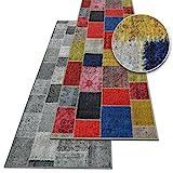 Teppichläufer Monsano | Patchwork Muster im Vintage Look | viele Größen | rutschfester Teppich Läufer für Flur, Küche, Schlafzimmer | Niederflor Flurläufer | bunt Breite 80 cm x Länge 250 cm