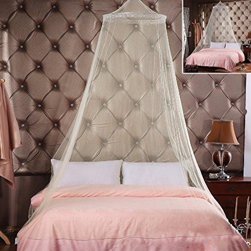 Moskitonetz Doppelbett Mückennetz Fliegennetz Baldachin schützt vor Insekten Malaria Insektenschutz mit Armbänder, ein Aufhängekit, Weiß, 250cm x 65cm, 180g
