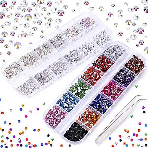 3000 x Strasssteine zum Basteln, mit flacher Rückseite, 7 Größen (1,5-5 mm), 13 Farben mit Pinzette zum Basteln, Nageldesign, Kleidung, Schuhe, Taschen, Handyhülle