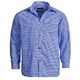 Trachtenhemd für Trachten Lederhosen Freizeit Hemd blau-kariert XXL