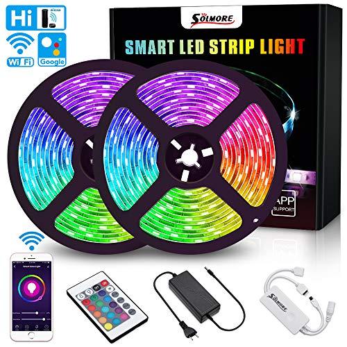 WiFi LED Streifen 10M, RGB LED Stripes, 16 Millionen Farben, Sync mit Musik | LED Bänder steuerbar via App, Kompatibel mit Alexa, Google Home, Echo, IFTTT | SMD5050 IP65 mit Fernbedienung | SOLMORE