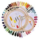 BASEIN Stickerei Starter Kit Kreuzstich Tool Kit Einschließlich 5 Stück Bambus-Hoops, 50 Farbfäden, 12 von 18-Zoll 14 Count Classic Reserve Aida und Nadeln Set