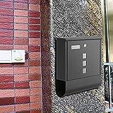 Briefkasten mit Zeitungsfach, Edelstahl gebürstet, mit Sichtfenstern, Namensschild, abschließbar, Wasserdicht Postkasten (Silber -1)