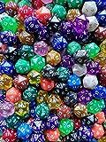 Arkero-G Würfel 5 Stück 20-Seitig W20/D20 - für Rollenspiele, Brettspiele & Sammelkartenspiele Spindown Für z.B. MTG Magic DND TCG Spiele