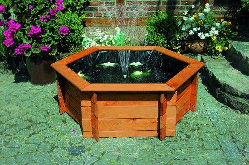 SECHSECK-HOCHTEICH diverse Größen mit Teichfolie und Teichpumpe Kieferholz imprägniert Gartendeko Promex, Hochteich. Größe:Hochteich 100 cm
