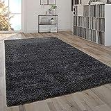 Paco Home Shaggy Teppich Hochflor Flauschig Wohnzimmer Uni In Versch. Farben & Größen, Grösse:120x170 cm, Farbe:Anthrazit