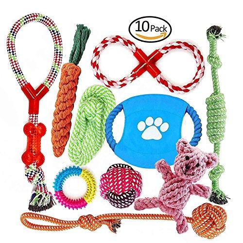 Welpenspielzeug, Hergestellt aus Natürlicher Baumwolle ungiftig und geruchlos Robust Besser für Zahnreinigung Geeignet für kleine Und Mittlere Hunde Hundespielzeug set 10 PCS