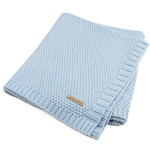 Per Organic Cotton Knitted Baby Decke Swaddle Empfangen Decken für Neugeborene Jungen Mädchen Kinder(Blau)
