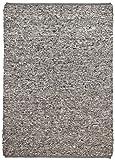 Exzellenter Webteppich handgewebt aus 100% reiner Schurwolle in diversen Farben und Melierungen und Größen erhältlich, Farbe:Grau, Größe:70 x 130 cm