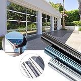 KINLO 300 x 75cm Spiegelfolie Sonnenschutzfolie Ohne Kleber für Fenster Sichtschutzfolie aus PVC 99% UV-Schutz Privatsphäre Glas Fensteraufkleber Fensterfolie 3-5Jahre Lebensdauer(Silber)