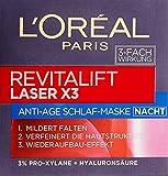 L'Oreal Paris Revitalift Laser X3 Nachtpflege, mit Hyaluronsäure, mildert Falten und strafft die Haut, 50 ml