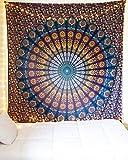 Mehrfarbige Mandala Tapestry Indian Wandbehang , Bettlaken , Bettdecke Picknick Strand Blatt , Qualität- Hippie by Craftozone (Double (215x210 cms))